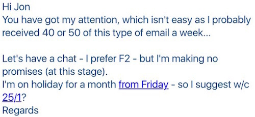 Response To Cold B2B Prospecting Email
