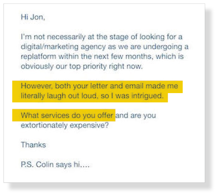 Charming Cold Email Response From A Prospect