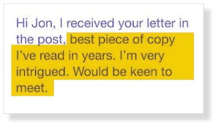 Cold Email / Direct Mail Copy Response Screenshot