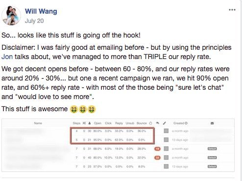 B2B Cold Email Success Testimonial from Will Wang