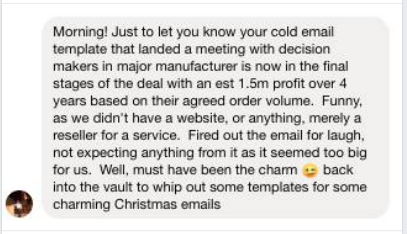 Another success screenshot from a cold email template customer