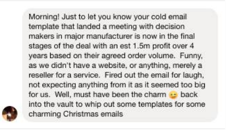 Charming Cold Email Templates - Testimonial